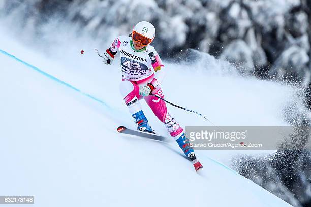 Leanne Smith of USA in action during the Audi FIS Alpine Ski World Cup Women's Downhill Training on January 20 2017 in GarmischPartenkirchen Germany
