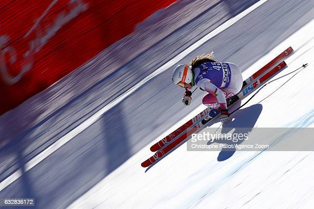 Leanne Smith of USA in action during the Audi FIS Alpine Ski World Cup Women's Downhill Training on January 27 2017 in Cortina d'Ampezzo Italy