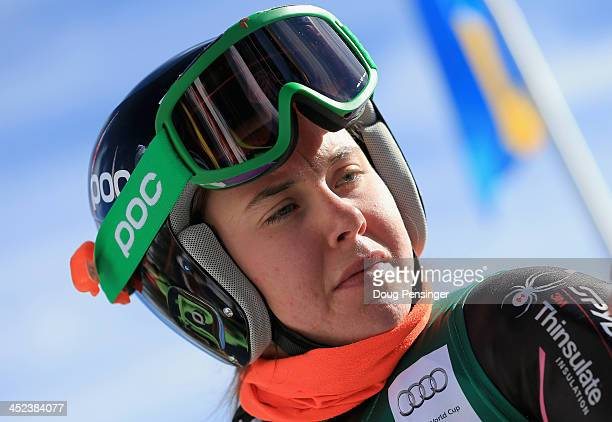 Leanne Smith prepares for her run during downhill training on Raptor at the Audi FIS Alpine World Cup on November 28 2013 in Beaver Creek Colorado