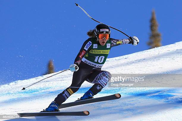 Leanne Smith skis in the ladies' downhill on Raptor at the Audi FIS Alpine World Cup at Beaver Creek on November 29 2013 in Beaver Creek Colorado...