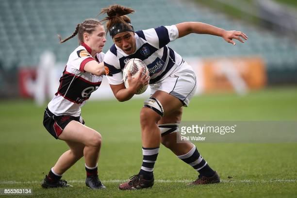 Leanne Thompson of Auckland is tackled during the round five Farah Palmer Cup match between North Harbour and Auckland at QBE Stadium on September 29...