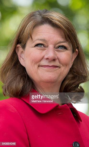 Leanne Wood leader of Plaid Cymru poses for a picture during a rally on Queen Street as she and former First Minister of Scotland Alex Salmond MP...