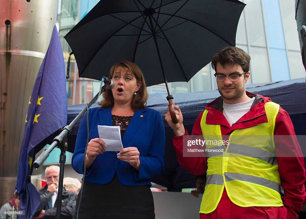 Leanne Wood, leader of Plaid Cymru, speaks during an anti-Brexit rally on June 28, 2016 on the Hayes in Cardiff, Wales. The protest is at a time of economic and political uncertainty following the referendum result last week, which saw the UK vote to leave the European Union.