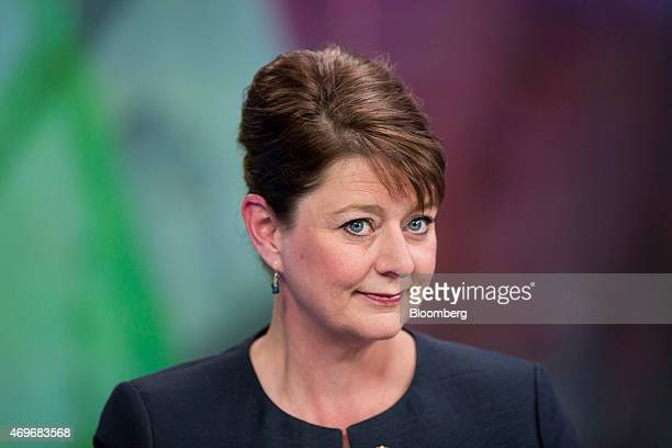 Leanne Wood leader of Welsh nationalist party Plaid Cymru pauses during a Bloomberg Television interview in London UK on Tuesday April 14 2015 Voters...
