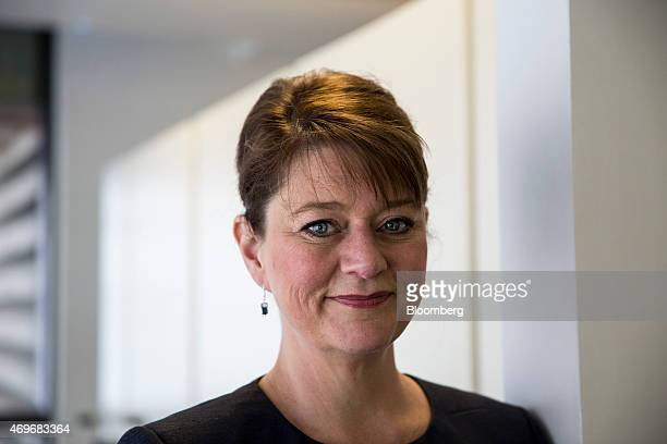 Leanne Wood leader of Welsh nationalist party Plaid Cymru poses for a photograph following a Bloomberg Television interview in London UK on Tuesday...