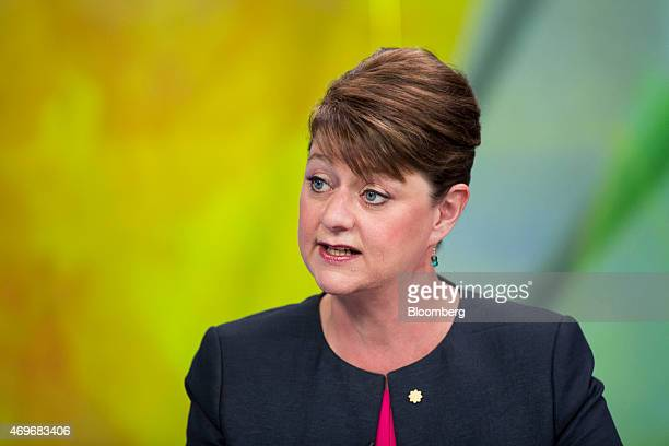 Leanne Wood leader of Welsh nationalist party Plaid Cymru speaks during a Bloomberg Television interview in London UK on Tuesday April 14 2015 Voters...