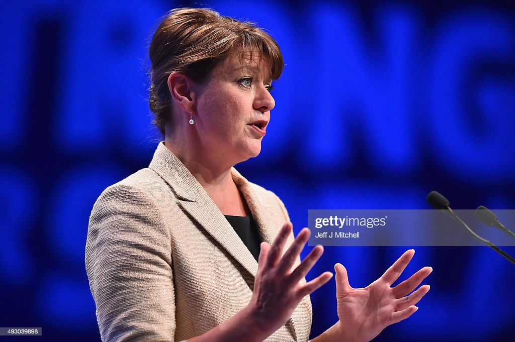 Leanne Wood, the Plaid Cymru leader addresses the 81st annual SNP conference at the Aberdeen Exhibition and Conference Centre on October 17, 2015 in Aberdeen, Scotland. Leanne Wood told delegates at the SNP conference in Aberdeen today that Wales needs to learn lessons from Scotland as she attacked Labours record.