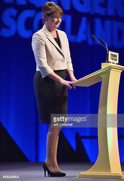 Leanne Wood the Plaid Cymru leader addresses the 81st annual SNP conference at the Aberdeen Exhibition and Conference Centre on October 17 2015 in...