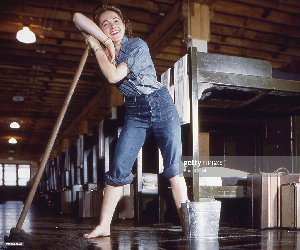 leans on her mop while cleaning barracks early to mid 1940s The WAVES were established on 30 July 1942 as a division of the US Navy