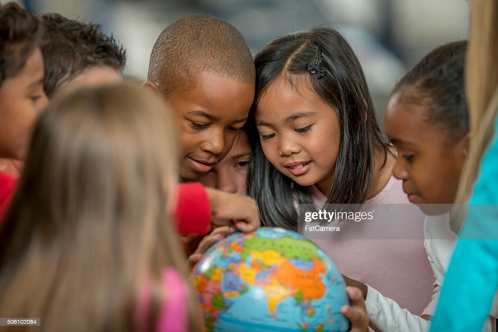 Learning Geography by Looking at the World : Stock Photo