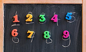 Learning math on a blackboard with chalk and colorful number shaped magnets.