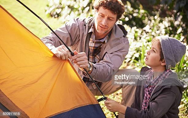Erlernen der Grundlagen des camping