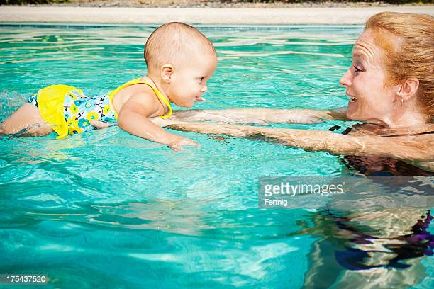 Learning to swim with mother