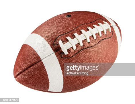 Leather American football on white background