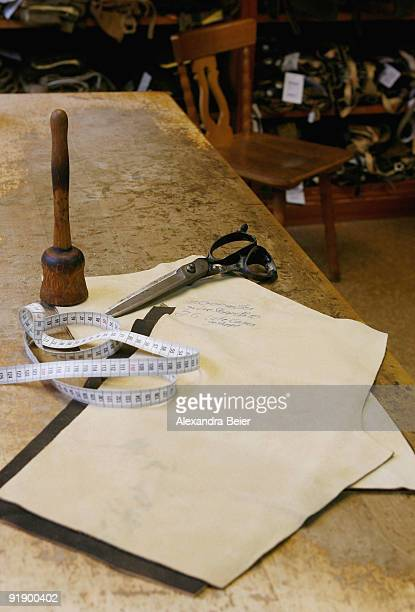 Leather and tools of leather tailor Franz Stangassinger are seen in his workshop on October 14 2009 in Berchtesgaden Germany The tradition business...