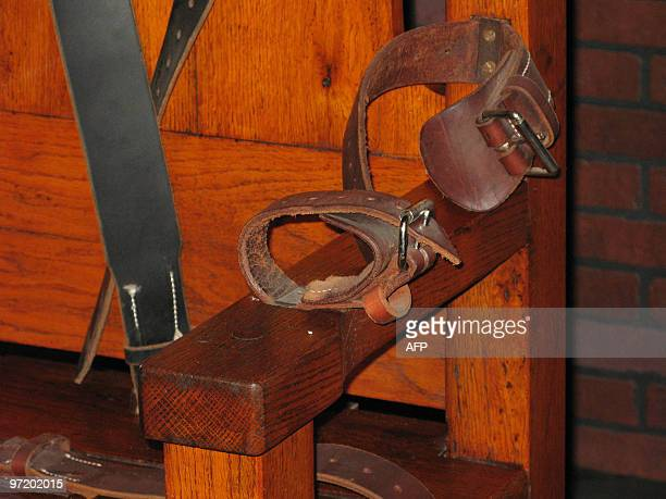 A leather arm strap of 'Old Sparky' the decommissioned electric chair in which 361 prisoners were executed between 1924 and 1964 is pictured 05...