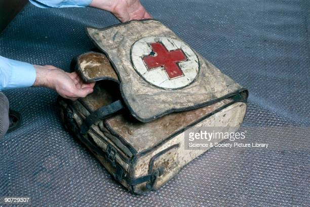 Leather bag with iron fittings shown in the Science Museum Hayes Store Middlesex Pack contains tablets and a bandage