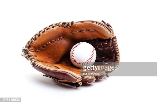 Leather Baseball or Softball Glove With Ball Isolated on White : Stock Photo