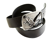 Leather belt with eagle on buckle on white background