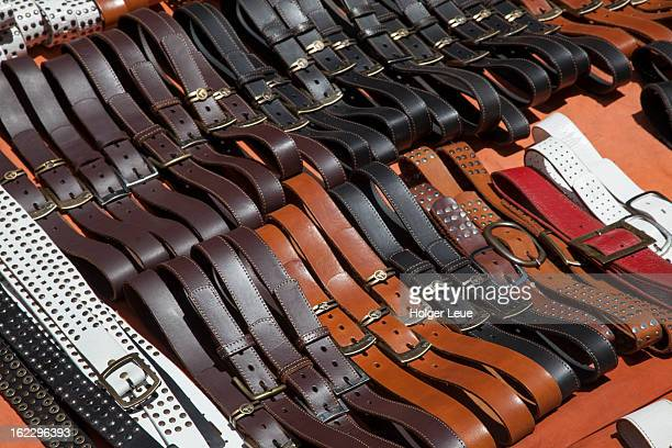 Leather belts at street stand on Calle Florida