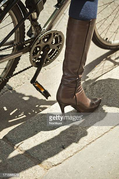 Leather boot female bicycle