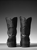 Leather boots, close-up, b&w