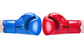 leather boxing glove red and blue isolated on white background