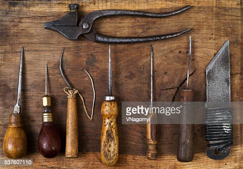 Leather Craft Tools On A Wooden Background Craftmans Work Desk Stock