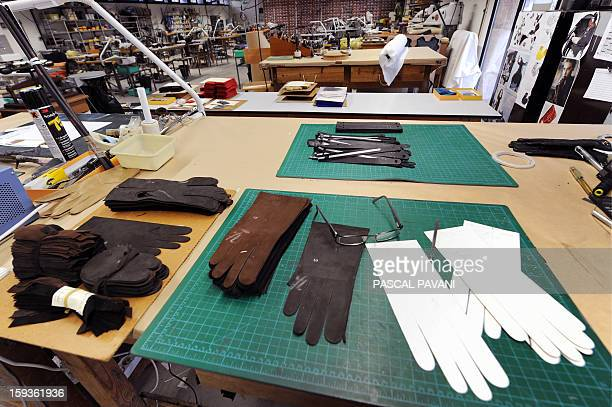 Leather gloves to be made are seen on January 9 in Millau at the Causse glove factory The French company founded in 1892 was bought in late September...