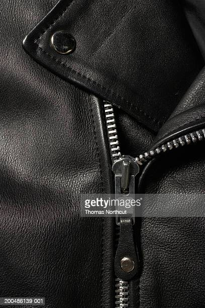 Leather jacket, close-up of zipper