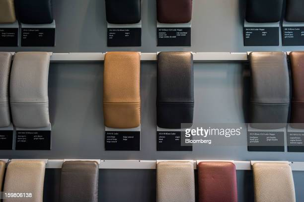 Leather options for interior upholstery are displayed inside the newly opened TT Motors Ltd MercedesBenz India flagship dealership in New Delhi India...