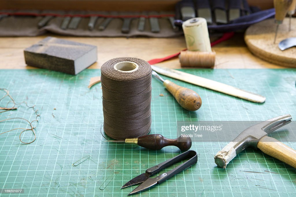 Leather stitcher and Saddlers tools. : Stock Photo