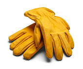 Yellow Construction Work Gloves Isolated on White Background.