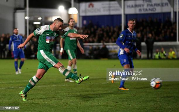 Leatherhead's player manager Sammy Moore scores his sides third goal during the FA Cup 1st Round Replay at the AGP Arena Billericay