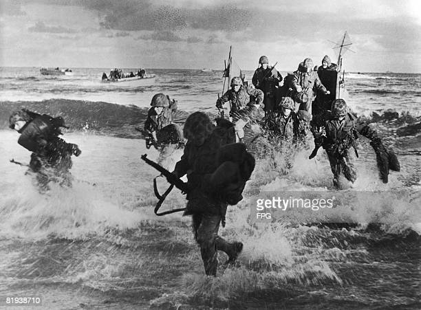 US Leathernecks or Marines take part in Operation Mainbrace a NATO naval exercise in north Jutland 29th September 1952 The exercise was designed by...