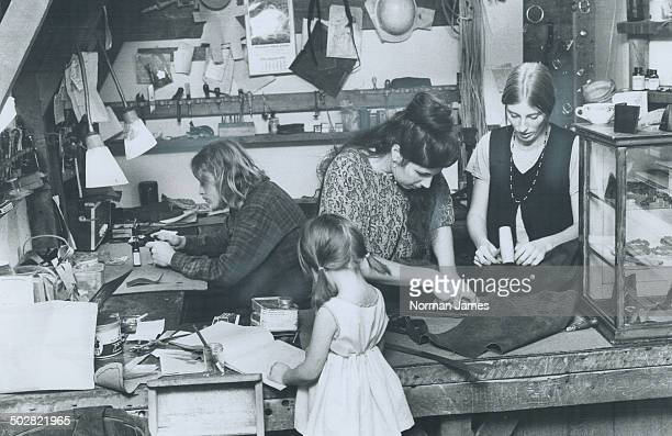 Leatherwork shop the Ragnarokr is operated on Baldwin St by young people who belong to a commune called the Yellow Ford Truck From left Dave Woodward...
