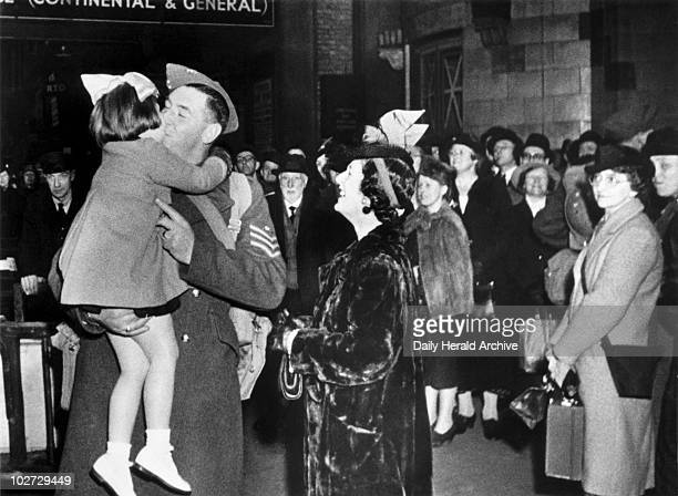 Leave trains Second World War 1940 'Happy scenes at the stations when troops arrive on leave but after 10 days sad scenes are recorded Relatives...