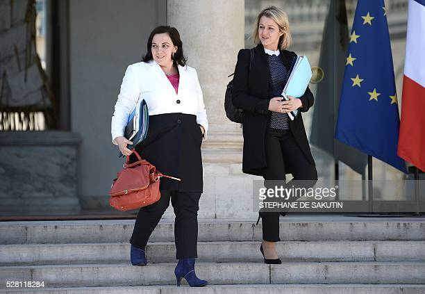 leaveFrench housing minister Emmanuelle Cosse and French Junior Minister for Climate and Biodiversity Barbara Pompili the Elysee presidential Palace...
