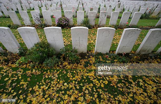 Leaves gather on the ground in front of headstones in the Tyne Cot Cemetery the largest Commonwealth war grave cemetery in the world on November 5...
