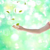 Leaves whirling above woman's hand