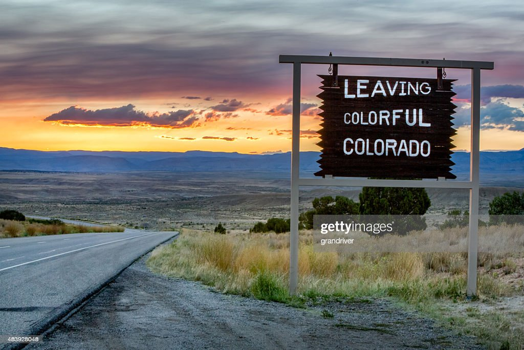 Leaving Colorado Roadsign on a desolate interstate highway.