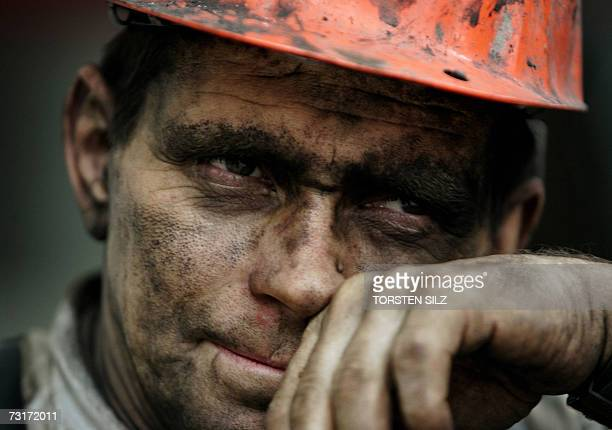 A miner takes a break from his work at the shaft in LebachHoxberg 01 February 2007 at the coal mine Ensdorf in the federal state of Saarland...