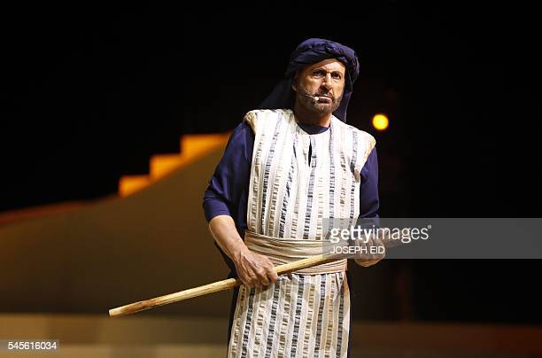 Lebanese actor Ghassan Saliba plays the part of Antar during the performance of 'Antar and Abla' the first Lebanese opera in Arabic to be completed...