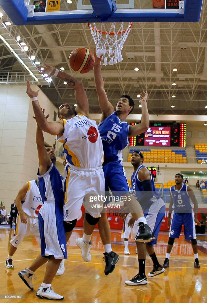 Lebanese al-Riyadi player Hussein Tawbe (C) vies for ball against Hani al-Mohammed (R) and Hassan al-Zawad (L) of Saudi Arabia's al-Hilal club during the 21st FIBA Asia Champions Cup at the al-Gharafa indoors stadium in Doha on May 24, 2010.