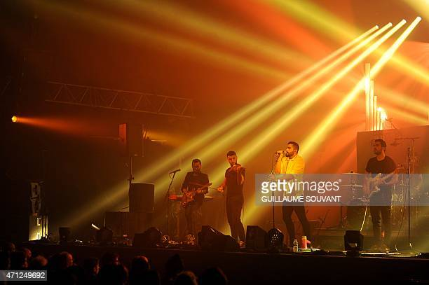 Lebanese alternative rock band Mashrou' Leila perform on stage at the 39th 'Le Printemps de Bourges' rock and pop music festival in Bourges central...
