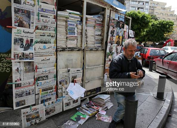 Lebanese and international newspapers are displayed at a kiosk in Beirut on March 23 2016 Its slogan was 'the voice of the voiceless' but after 42...