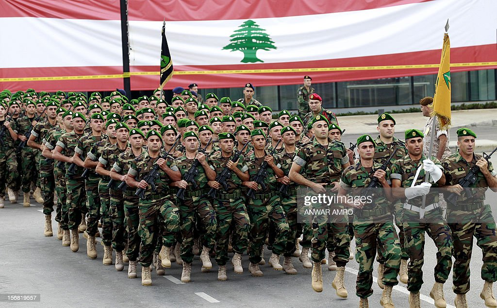 Lebanese army forces march during a military parade marking Lebanon's 69th Independence Day in central Beirut on November 22, 2012