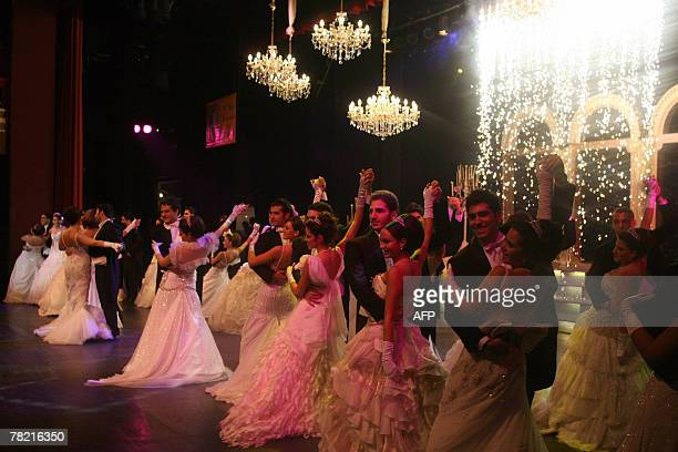 Lebanese debutantes attend late 02 December 2007 the opening of the 'Bal des Debutantes' at the Casino du Liban in Jounieh under the patronage of...