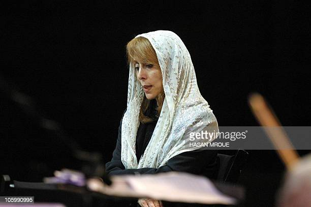Lebanese diva Fairuz attends a rehearsal 25 July 2001 at Beiteddine in the Chouf region of Lebanon two days before her three concerts at the annual...