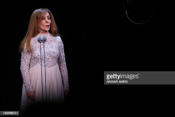 Lebanese diva Fairuz performs at Lebanon's new stateofart Platea theatre in Sahel Alma north of the capital Beirut on December 9 2011 The 77yearold...